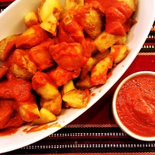 Patatas Bravas (crispy potatoes with salsa brava*spicy*)