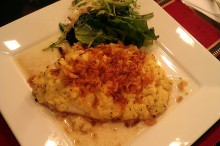 Potato Parmesan Crusted Tilapia with Browned Butter Wine Sauce