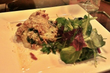 Dijon Crusted Chicken Stuffed with Spinach Saute with Lemon White Wine Sauce