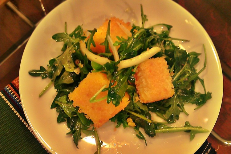 Arugula Salad with Crispy Polenta