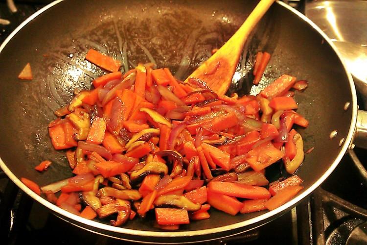 carrot stir fry with balsamic glaze