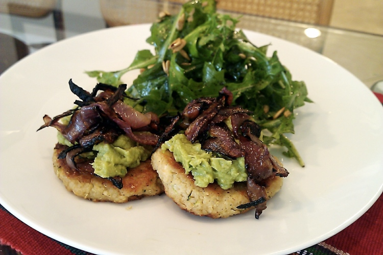 Quinoa Patties with Mashed Avocado and Caramelized Onions