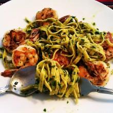 Lemon Pepper Shrimp Pasta with ArugulaPesto