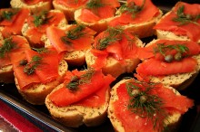 Smoked Salmon Bites with Mustard Butter