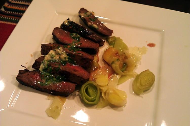 Grilled Steak with Garlic-Brandy Butter